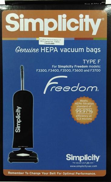 Simplicity Type F HEPA cloth bags 6Pk
