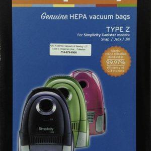 Simplicity Type Z HEPA cloth bags 6Pk