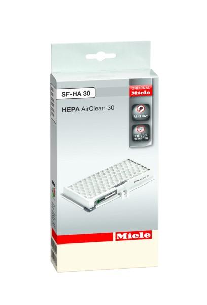 SF HA 30 HEPA AirClean filter with timestrip® safely traps fine dust and allergens. Ideal for all allergic to house dust, ≥ 99.95% dust retention. HEPA class 13 in accordance with EN 1822/2011 With timestrip® filter replacement indicator To maintain appliance performance, change the filter once a year Contents: 1 filter