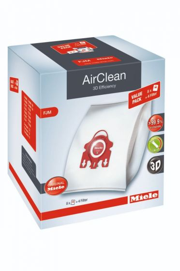 Miele XL-Pack AirClean 3D Efficiency FilterBags Type FJM 8Pk